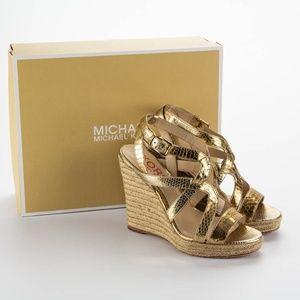 MICHAEL KORS Gold Espadrille Wedge Sandals